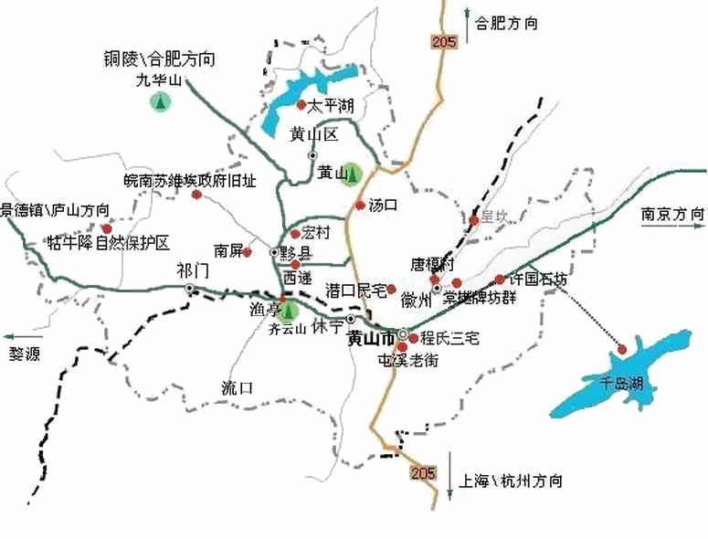 黄山地区自助旅游地图