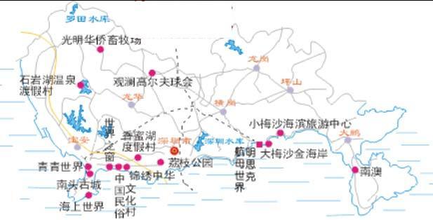深圳旅游地图,深圳旅游地图 景区