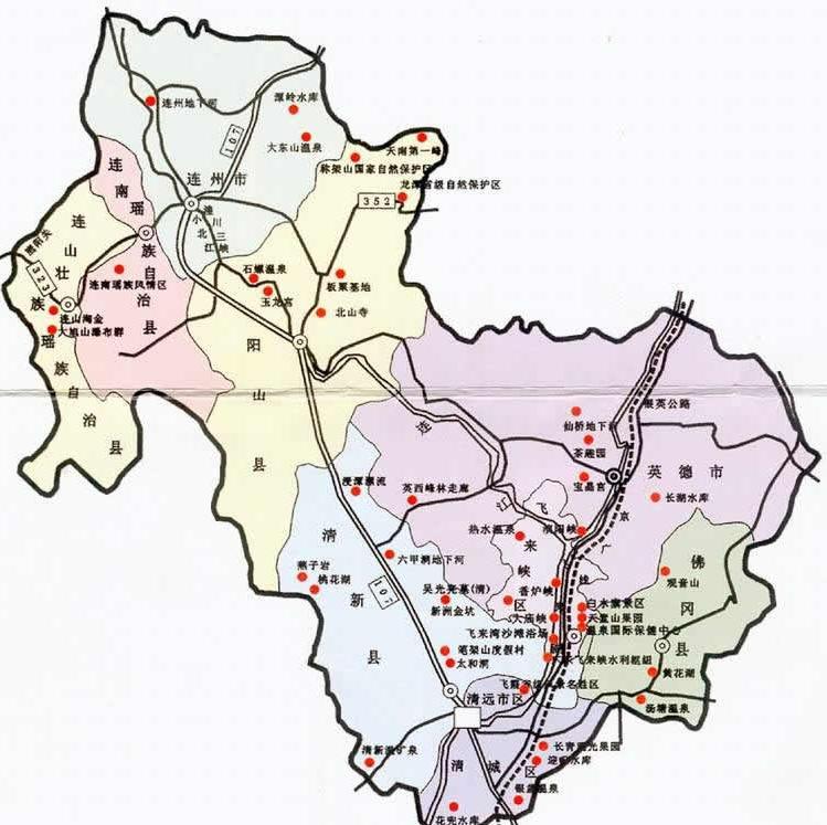 清远地区自助旅游地图