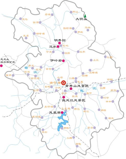 南宁地区自助旅游地图