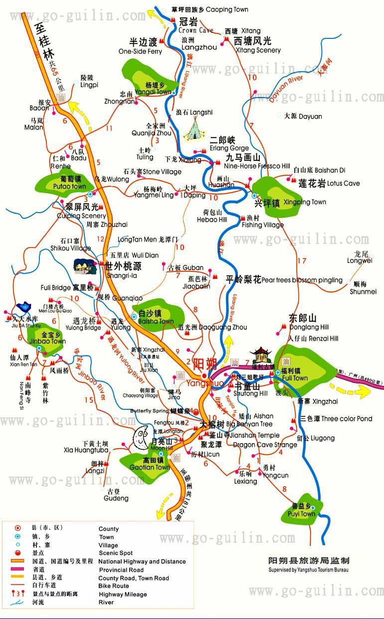 阳朔自助旅游地图