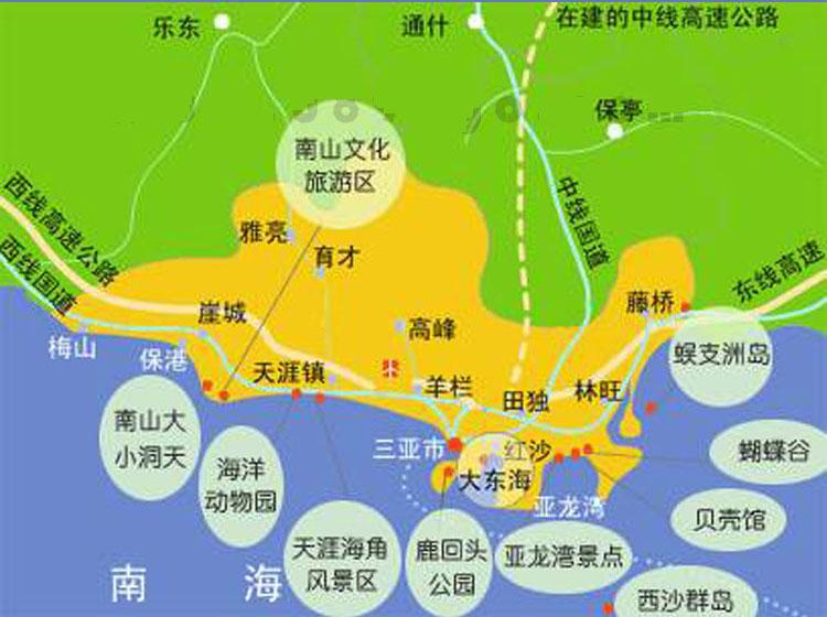 三亚地区自助旅游地图