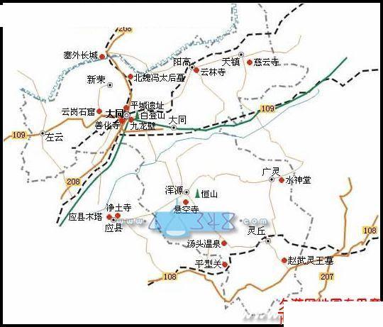 大同地区自助旅游地图