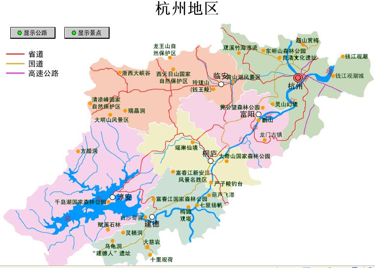 杭州地区自助旅游地图